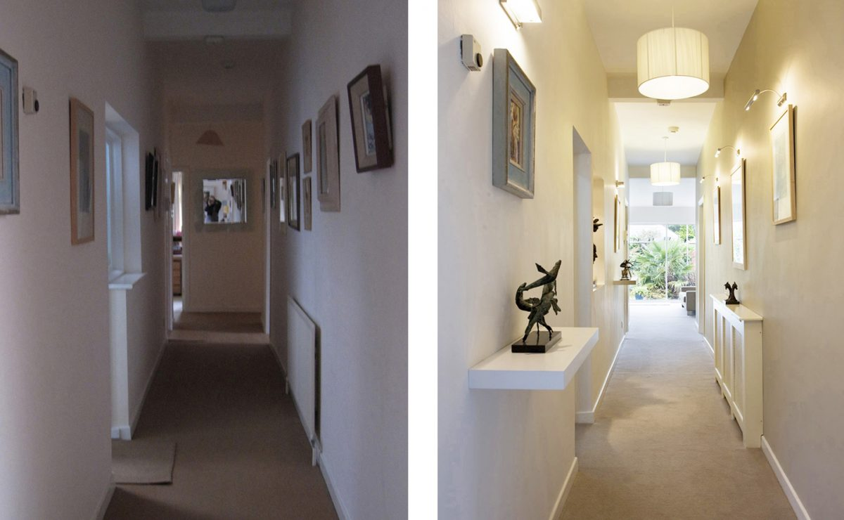 Identify any unused or under used rooms and see how that space could be better used or opened up to brighten your home at the end of the hall way was an